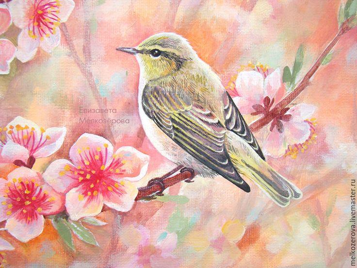 """Купить Картина """"Цветение персика"""" розовый цветы птица - кремовый розовый белый, персиковый пудровый"""