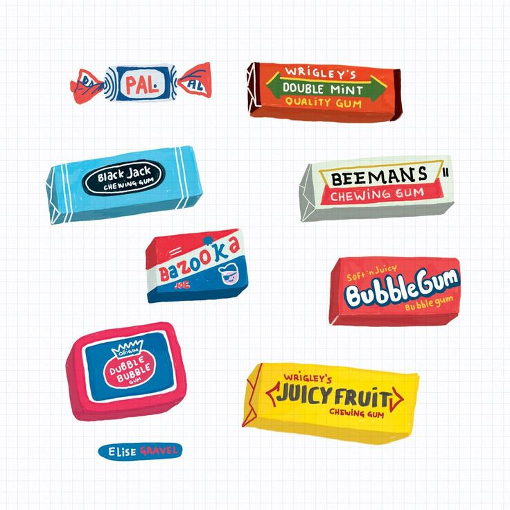 Elise Gravel illustration • gouache • bubble gum • image • art • drawing • packaging • candy • vintage