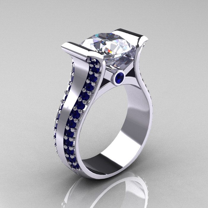 Modern 18K White Gold 3 0 Carat Moissanite Blue Sapphire Bridal Ring R196 18K