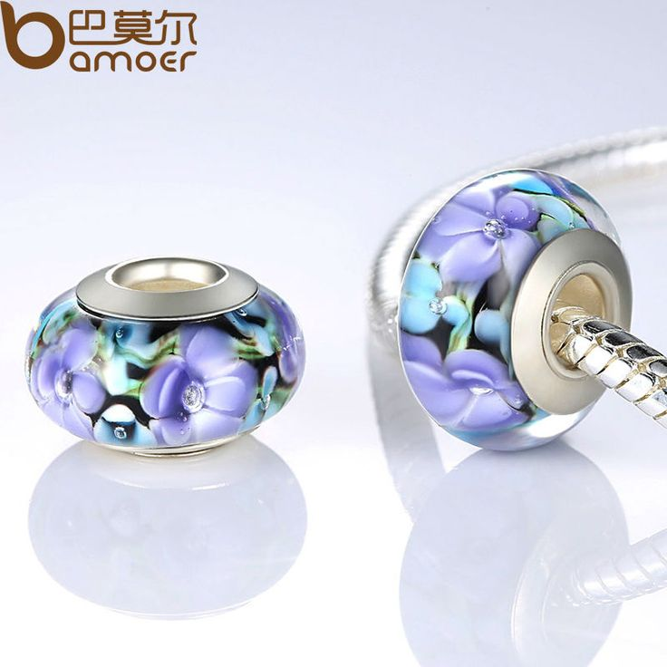 Authentic Silver Plated Purple European Glass Flower Beads Fit Bracelet & Necklace Jewelry Making PA6326