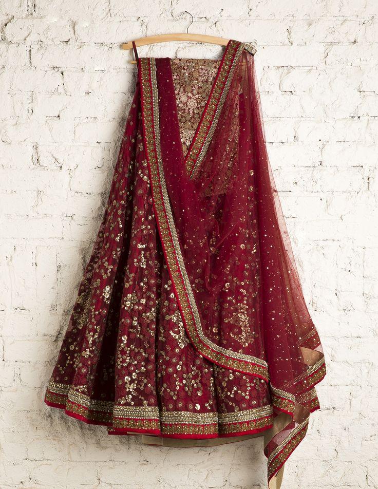 SwatiManish Lehengas   SMF LEH 105 17   Royal maroon lehenga and dupatta with sequin and tread work blouse
