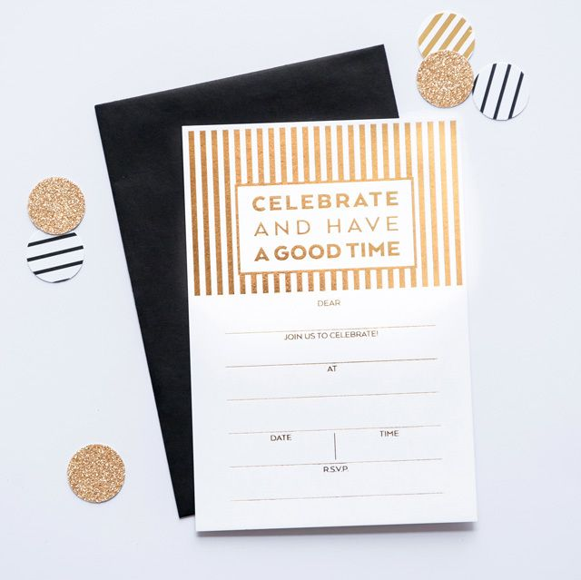 'CELEBRATE STRIPE' Fill-in GOLD Invitations #stationery #gold #invitation #gold