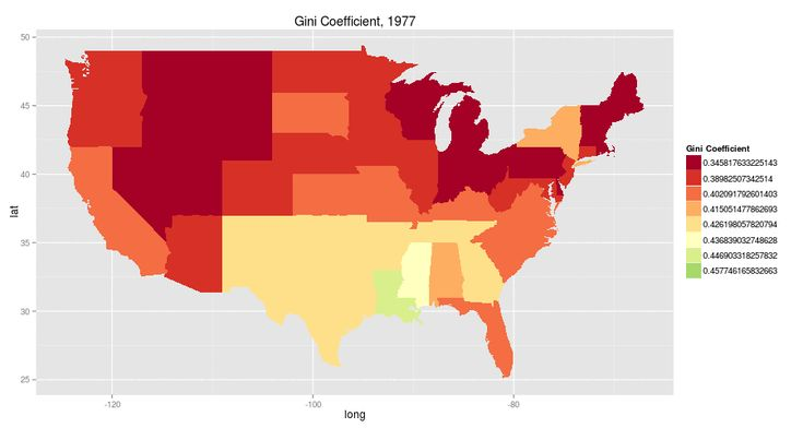 """The map was created by John Voorheis, a graduate student at the University of Oregon, and was passed along by Mark Thoma of Economist's View. More specifically, the map shows the change in Gini coefficients — a measure of income inequality — within states over time."""