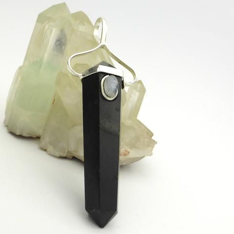 Pendant Black Tourmaline with Moonstone