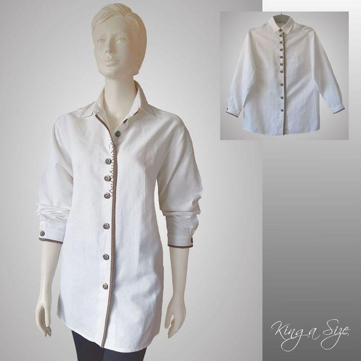 MEICO - Trachten Bluse Leinenbluste Hemdbluse Hemd Lange Arm - weiß  Gr.44