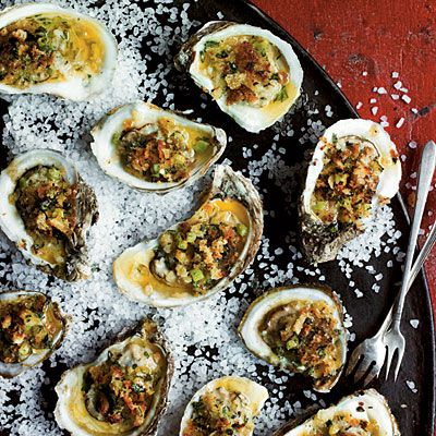 Broiled Oysters on the Half Shell   For an even easier version of Jim Gossen's oysters, omit the shells, double the recipe, and broil the oysters in a baking dish.