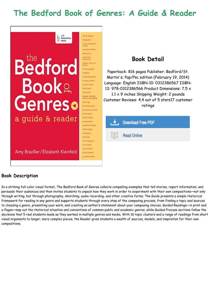 E Book Download The Bedford Book Of Genres A Guide Reader Txt Pdf Epub Genres The Bedford Rhetoric