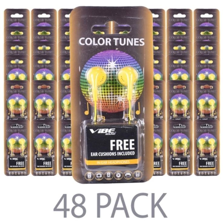 (48-Pack) Vibe Color Tunes VS-120-YLW In-Ear Stereo Headphones (Yellow) - Retail Hanging Package