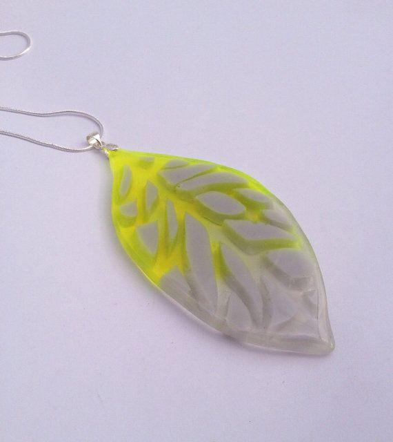 Handcrafted eco-resin grey and fluorescent yellow stained-glass leaf pendant on sterling silver chain.