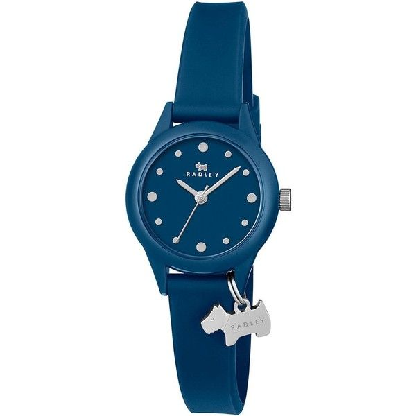 Radley Radley Watch It! Blue Dial Blue Silicone Strap Ladies Watch (£59) ❤ liked on Polyvore featuring jewelry, watches, silicone strap watches, charm jewelry, dog jewelry, radley watches and blue dial watches