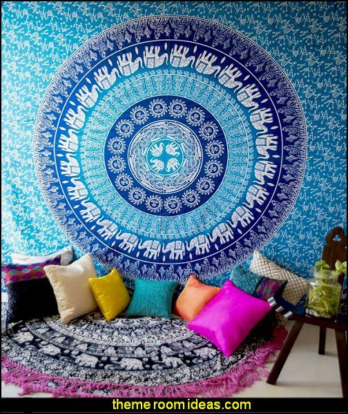Blue Elephant Tapestry, Bohemian Wall Tapestry Throw for Bedroom, Hippie