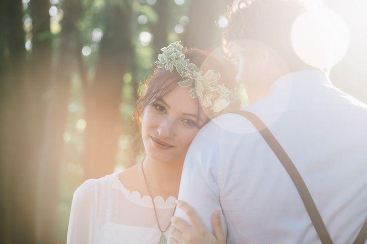 Закат. Лучи солнца. Летний венок невесты. Фото: Николай Абрамов