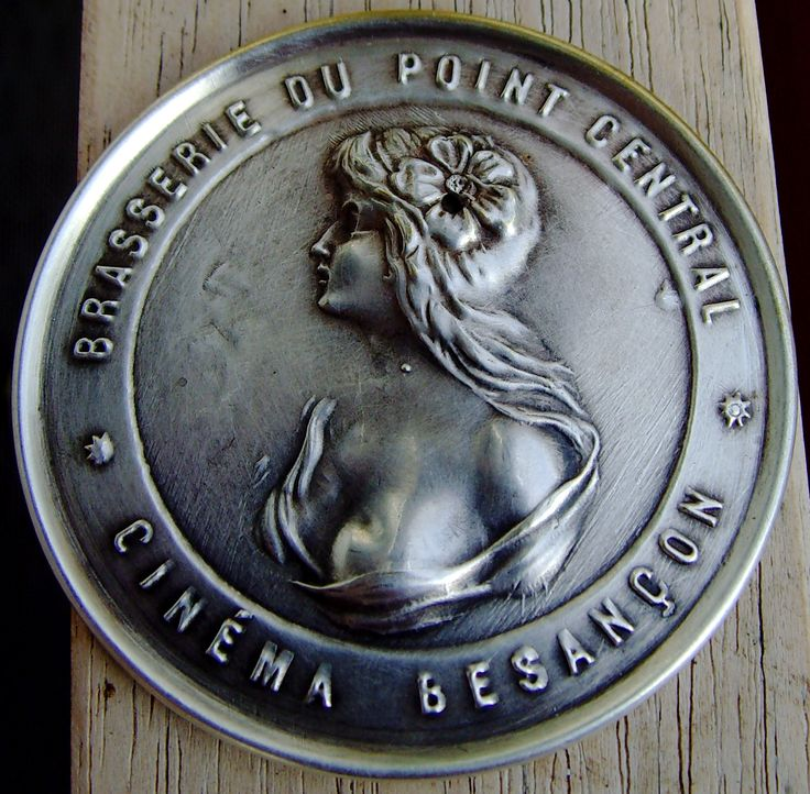 ANOTHER BEAUTY - FRENCH POCKET MIRROR WITH ADVERTISING FOR A BRASSERIE AND CINEMA IN BESANCON, FRANCE