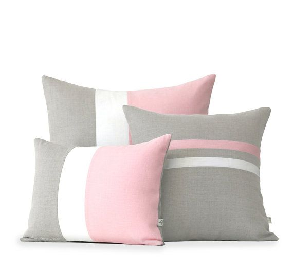 Copertura del cuscino colorblock Stripe Set - cuscino di lino a righe rosa pastello & crema e Colorblock cuscini di SS2016 JillianReneDecor (Set di 3)