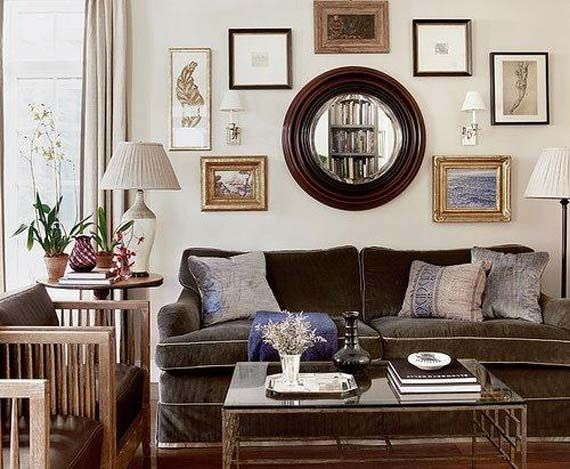 Wall Decor Around Mirror : Decorating around a brown couch via homedesign proprety