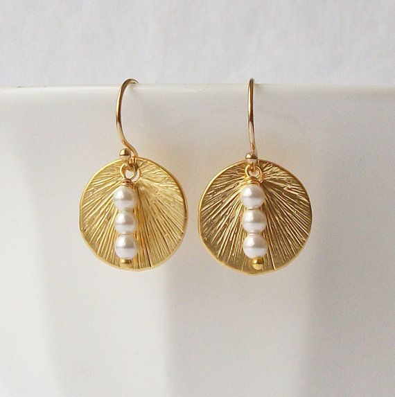 White Pearl Gold Circle Earrings Christmas by PeriniDesigns