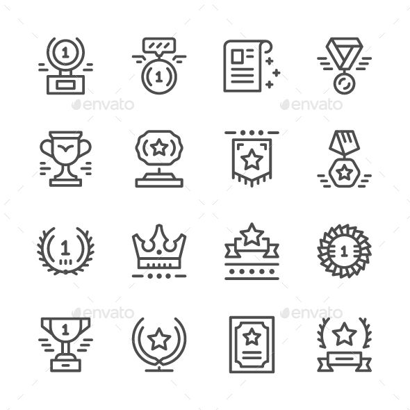 Set Line #Icons of Award - #Abstract Icons Download here: https://graphicriver.net/item/set-line-icons-of-award/19242838?ref=alena994