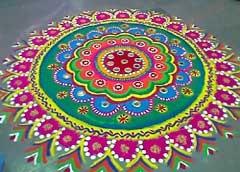 Rangoli - Beautiful Hindu Floor Art enjoyed at Diwali...beautiful colours and details...