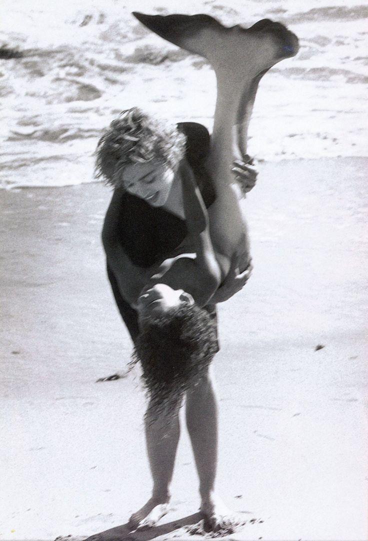 Little mer-people flotsam.  Cherish, Madonna, ph. Herb Ritts, 1989   merbaby   mermaid   child   beach   fun   love   madonna   playful  