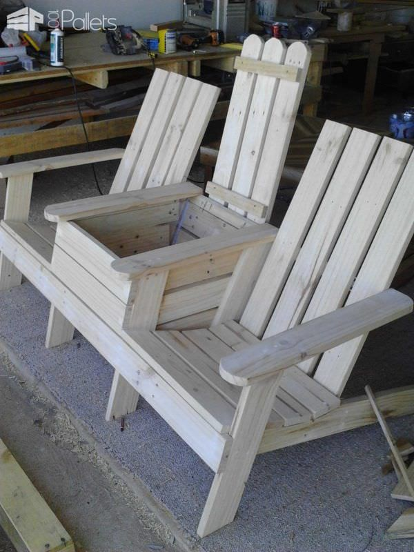 Adirondack Jack & Jill Cadeira de paletes bancadas de paletes, cadeiras de paleta e bancos