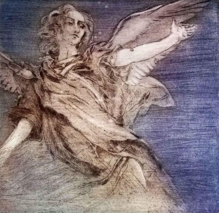 "ANGELO ""Omaggio al Piazzetta"" 2014  Etching puntasecca acquatinta and 3 colors print"