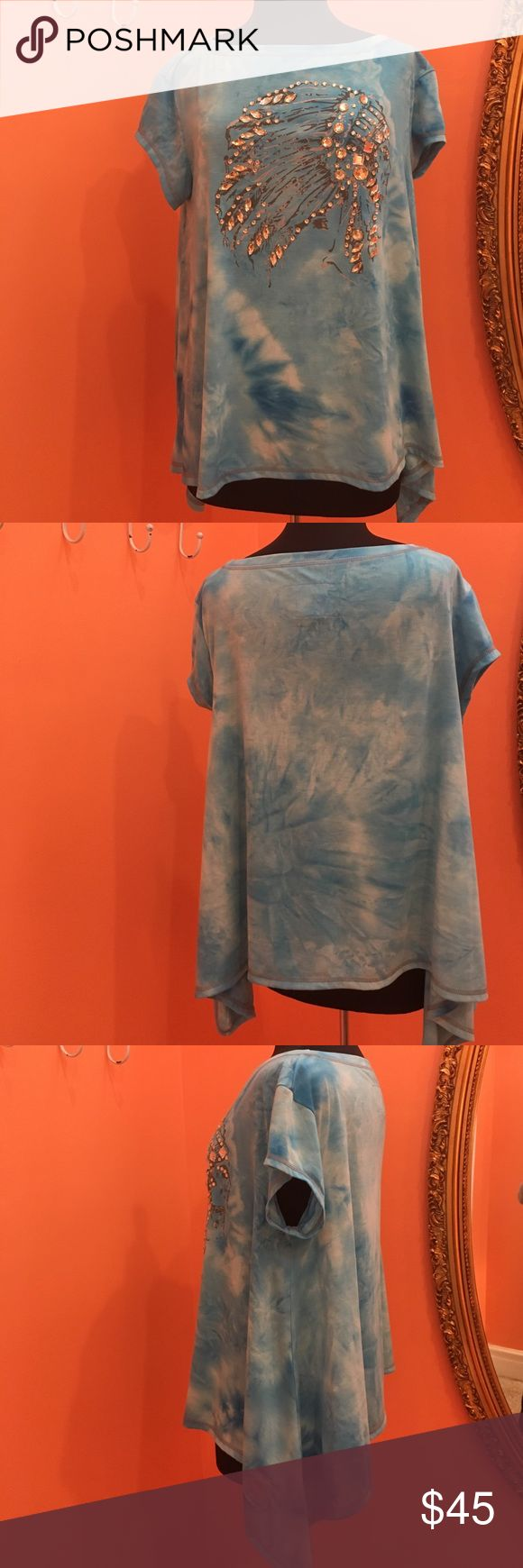 Double D Ranch top Double D Ranch top with shark bite hem. Tie dye background with crystal embelished chief head on the front. No tags but never worn. 94%polyester  6%spandex Double D Ranch Tops Tees - Short Sleeve