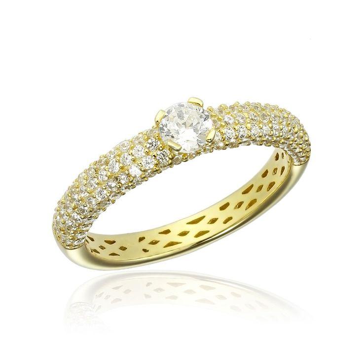 Inel argint Yellow Solitar cu cristale laterale Cod TRSR265