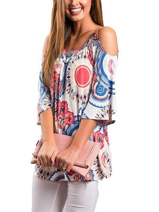 59a1c1d63632b Floral Circle Print Cold Shoulder Bell Sleeve Loose Fit Top ...