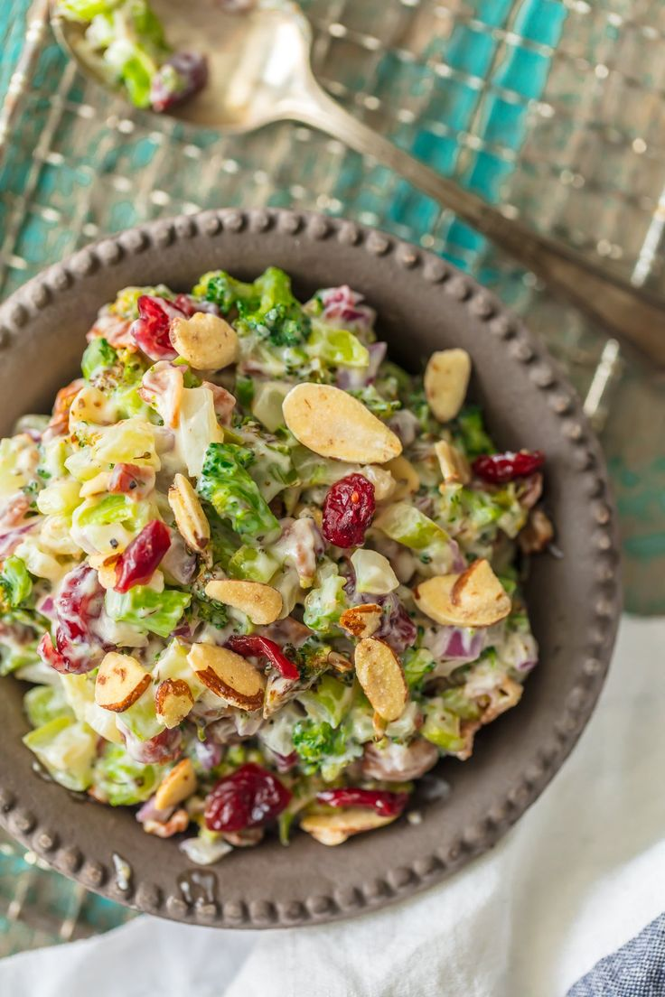 cranberry almond charred broccoli salad food alertchristmas side - Christmas Side Dishes Pinterest