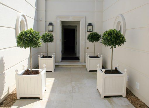 white Versailles planters by stuart garden architecture and topiary