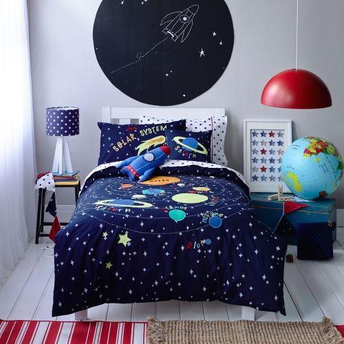 Solar System Space Blue Glow In Dark Duvet Cover Set