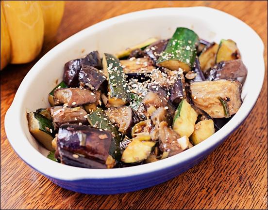 Vegan Spicy Szechwan Eggplant and Zucchini Stir Fry