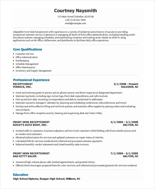 Template Net Receptionist Resume Template 7 Free Word Pdf Document Download 55093a40 Resumesample Res Job Resume Samples Resume Examples Medical Receptionist