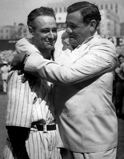 Lou Gehrig and Babe Ruth at Yankee Stadium on July 4, 1939. Lou died 2 Jun,41 of ALS, since called Lou Gehrig Disease and Babe died 16 Aug 1948 of head / brain cancer.