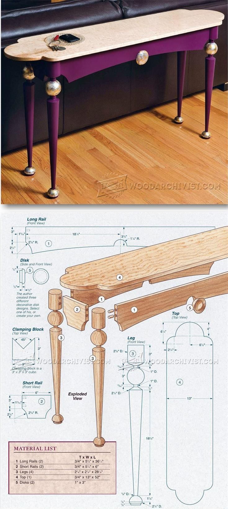 Sofa Table Plans - Furniture Plans and Projects | WoodArchivist.com