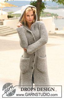 """Long DROPS jacket in garter st with hood in """"Eskimo"""". Size S - XXXL. ~ DROPS Design"""