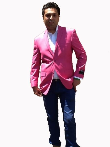 Colored Bright Mens Sport Coat / Dinner Jacket Blazer Vented Pink | MensITALY  Price: US $139