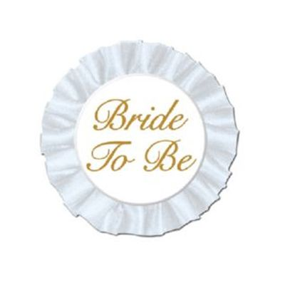http://www.hensandbrides.com.au/item_1145/Bride-to-Be-Satin-Badge.htm  This is an elegant white satin covered button on a satin rosette.  Secures easily with the attached pin   Price: $9.95