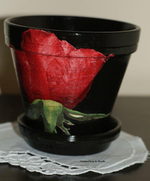 Doniczka z różą