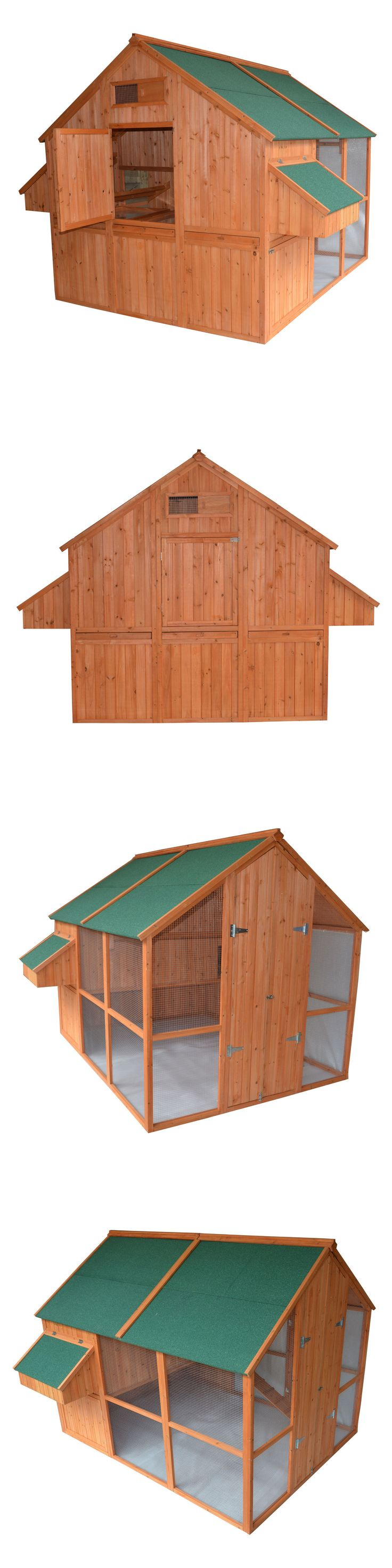 Backyard Poultry Supplies 177801: Large 98 Walk-In Wood Chicken Coop Hen Bird House Rabbit Hutch W 2 Nesting Box BUY IT NOW ONLY: $989.99