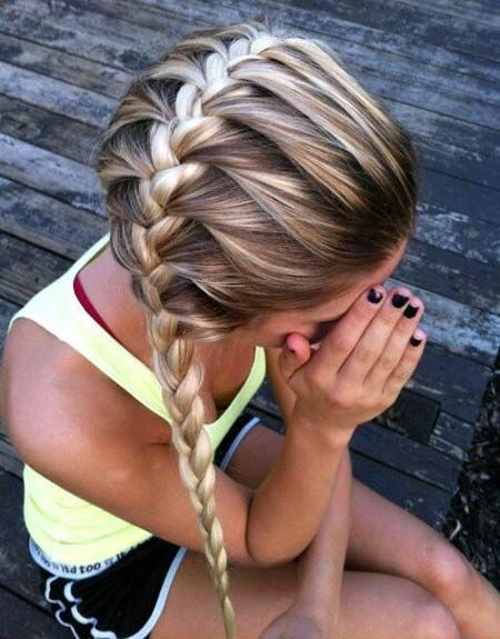 Horizontal french braid hairstyle