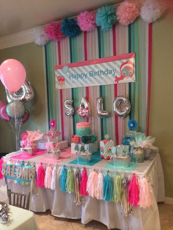 Best 25 spa birthday parties ideas on pinterest kids for Baby girl birthday party decoration ideas