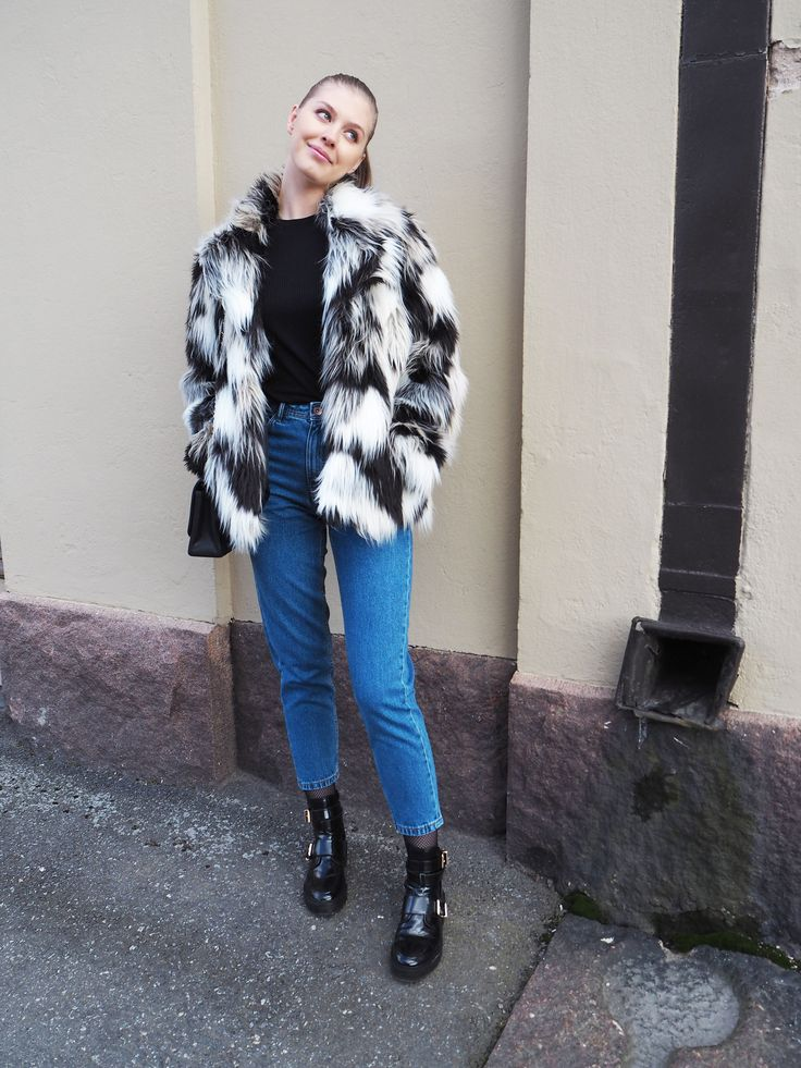 Winter outfit Outfit ideas Faux fur Casual