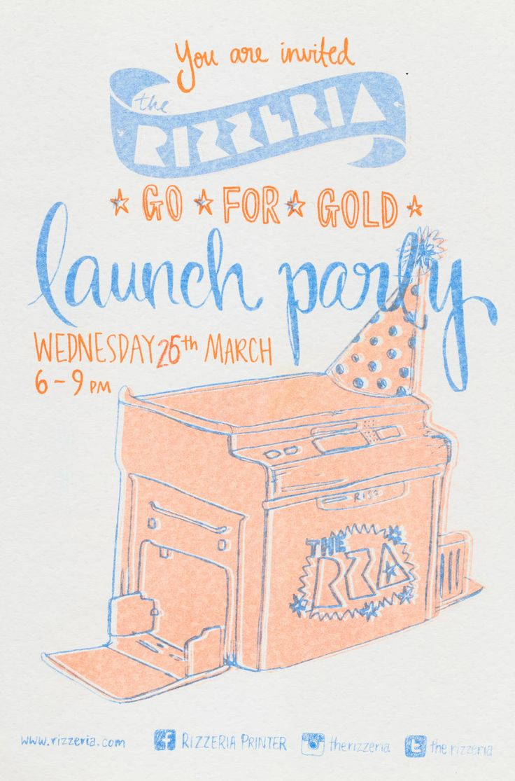 Blue and orange invitation for the Rizzeria gold ink launch party. Print your own invites on our RP3700 Risograph machine or get us to print them for you. Bookings at www.rizzeria.com.