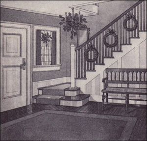 Staircase with Christmas Wreaths (1910 - Article from Ladies Home Journal - reposted from antiquehomestyle.com)