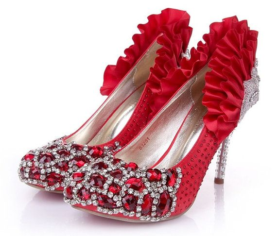 Red Satin Crystal Vintage Wedding Shoes High Heels by amyfellow, $150.00