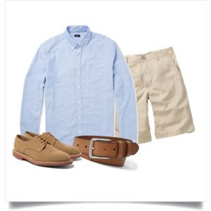 Polyvore: Light blue OCBD, stone shorts, tan leather belt, tan suede derbies.