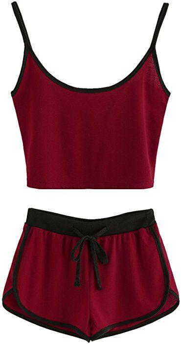 12492d068a91 Amazon.com: SweatyRocks Women's 2 Piece Set Halter Crop Top and Shorts Set  Burgundy M: Clothing