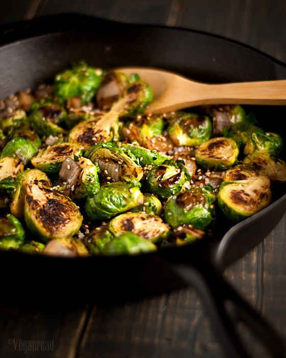Caramelized Brussels Sprouts with Sesame Seeds. this link leads you to 32 vegan recipes for thanksgiving and all of them sound amazing