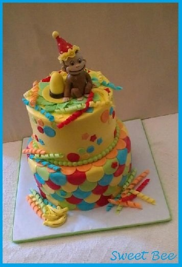 Curious George Cake- love the scallop detail on the side of the bottom tier